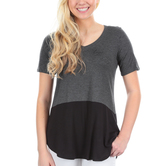 NOTW, Hope Anchors the Soul, Women's Color Block Tunic Fashion Top, Black and Gray, XS-2XL