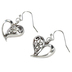 Bella Grace, Heart Shaped Dangle Earrings, Zinc Alloy & Iron, Silver