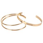 Modern Grace, Psalm 13:6 Redeemed Bangle Bracelet Set, Zinc Alloy, Gold, Set of 2