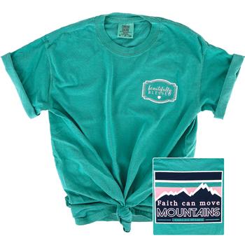 Beautifully Blessed, Matthew 17:20 Move Mountains, Women's Short Sleeve T-Shirt, Seafoam, S-2XL