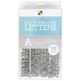 DCWV, Letterboard Letters, Plastic, Silver, 1 inch, 188 Letters