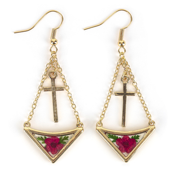 Faith in Bloom, Chain with Gold Cross Charm Dangle Earrings, Zinc Alloy, Gold