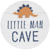 Round Little Man Cave Wall Decor, Wood, White, 15 5/8 x 3/8 inches