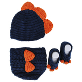 Brother Sister Design Studio, Dinosaur Hat, Diaper Cover, & Boots, Blue & Orange, 0 to 6 Months