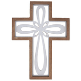 White Cutout Loop Wood Wall Cross Décor, Whitewashed, Brown, 11.50 x 15.50 x 0.62 Inches