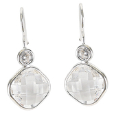 Set Free, Glass and Crystal Dangle Earrings, Zinc Alloy, Silver