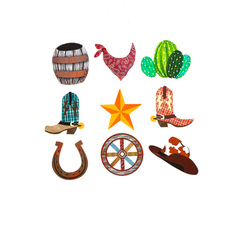 Goin' West Collection, Mini Cutouts, 3 x 3 Inches, Assorted Designs, 36 Pieces