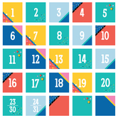 Colorfetti Collection, Calendar Days, 2.5 x 2.5 Inches, 6 Designs, 36 Pieces