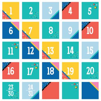 Colorfetti Collection, Calendar Days, 2.5 x 2.5 Inches, 6 Designs, 36 Pieces