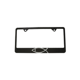 Elektroplate, Christian Fish with Cross License Plate Frame, Metal, Black and Silver, 12 1/4 x 6   1/2 inches