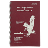 Whaley Gradebook, 3-Line Attendance and Grade Record Book, Twelve 8-Week Periods, 6GB-066, Spiral