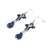Radiant Sol, Cross and Bead Dangle Earrings, Zinc Alloy and Natural Lapis Lazuli, Silver and Blue