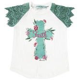 Southern Grace, Rose Faith Cross, Kid's Lace Short Sleeve T-shirt, White and Teal, Ages 8-10