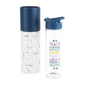 Christian Art Gifts, Teacher Words Water Bottle, Glass & Plastic, 20 ounces