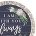 Renewing Faith, Matthew 28:20 I Am With You Always Car Coaster, Absorbent Sandstone, Navy, 2 1/2 inches