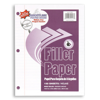 Filler Paper, Wide Ruled, 3-hole punched, 150 Sheets