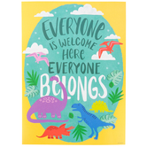 Renewing Minds, Everyone Is Welcome Here Dinosaur Motivational Poster, 13.25 x 19 Inches, 1 Piece