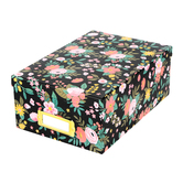 The Paper Studio, Photo Storage Box, Pink Floral on Black, 11 x 7 1/2 x 4 1/4 Inches