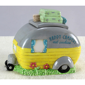 Young's, Inc., Happy Camper Cookie Jar, Yellow and Gray, 9 1/2 inches