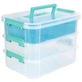 Sterilite, Stack & Carry 3 Layer Handle Box & Tray, Clear & Aqua, 10 1/2 x 7 1/4 x 7 3/4 inches