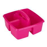 Storex, Small Caddy, Pink,  3 Compartments, Plastic, 9.25 x 9.25 x 5.25 Inches, 1 Piece