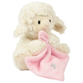 Musical Plush Toy, Jesus Loves Me Lamb with Blanket, by Nat & Jules, Cream and Pink, 8 inches