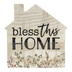 P. Graham Dunn, Bless This Home Tabletop Plaque, Pine Wood, 3 1/4 x 3 1/4 inches