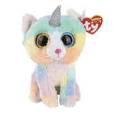 Ty Beanie Boos, Heather the Cat Stuffed Animal, Rainbow, 6 inches