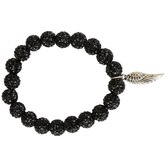 Bella Grace, Beaded Stretch Bracelet with Angel Wing Charm, Glass and Zinc Alloy, Black and Silver