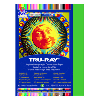 Tru-Ray® Sulphite Construction Paper, 9 x 12 inches, Holiday Green, 50 Sheets