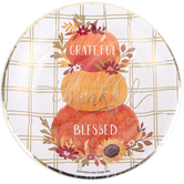Grateful Thankful Blessed Pumpkin Small Round Plate, 8 1/2 inches, Set of 20 Plates