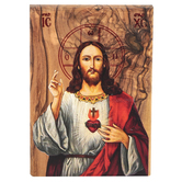 Logos Trading Post, Jesus Christ Sacred Heart Plaque, Olive Wood, 4 x 2 1/4 Inches