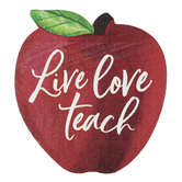 P. Graham Dunn, Live Love Teach Wood Decor, Red, White, and Green Apple, Pine, 3.50 x 3.50 x 1 Inch