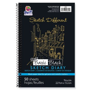 Pacon, Basic Sketch Diary, Black Paper, 9 x 6 Inches, 50 Sheets