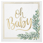 Brother Sister Design Studio, Oh Baby Large Napkins, White and Gold, 6 1/2 x 6 1/2 inches, 25 Napkins
