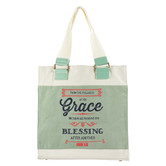 Christian Art Gifts, John 1:16, Grace, Canvas Tote, Natural and Sage Green