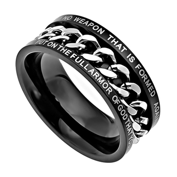 Spirit & Truth, Isaiah 54:17/Ephesians 6:11, No Weapon, Inset Chain, Men's Ring, Stainless Steel, Black