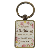 Christian Art Gifts, Romans 8:28, He Works All Things Keyring in Tin, Metal, Gold and Floral, 3 x 1 1/2 inches