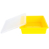 Storex, Letter Size Storage Tray With Clear Lid, Yellow, Plastic, 13 x 10.5 x 3 Inches, 2 Pieces