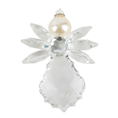 Ganz, Crystal Expressions Angel Ornament with Pearl, Acrylic, Clear, 4 1/2 inches