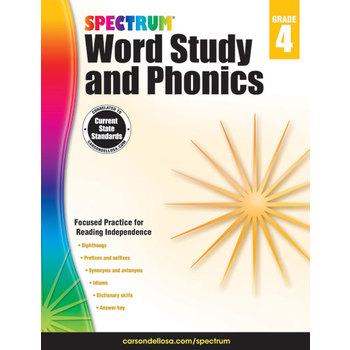 Carson-Dellosa, Spectrum Word Study and Phonics Workbook Grade 4, Paperback, 176 Pages, Ages 9-10