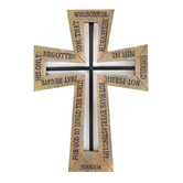 John 3:16 Outline Cutout Wall Cross, Resin and Metal, Brown and Black, 8 1/8 x 11 11/16 x 11/16 inches
