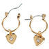 Bella Grace, Heart and Cross Jewel Earrings, Zinc Alloy & Iron, Gold-tone, 2 Pairs