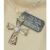 Spirit & Truth, Philippians 4:13 Filigree Cross and Tag Necklace, Sterling Silver, 18 inches
