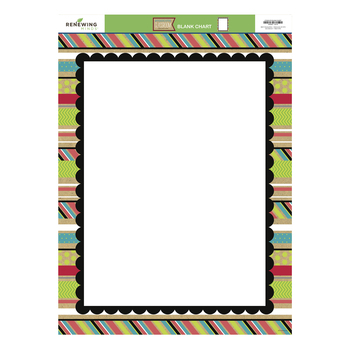 TooCute Collection, Customizable Classroom Blank Chart, 17 x 22 Inches, Red Lime White Blue Black Patterns