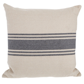 Cream and Gray Striped Square Pillow, Polyester and Cotton, 20 x 20 x 6.50 Inches