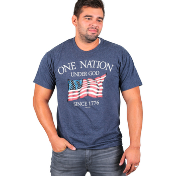 Red Letter 9, One Nation Under God, Men's Short Sleeve T-Shirt, Navy Heather, S-3XL