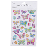the Paper Studio, Stickabilities, Butterflies & Flowers Foil Stickers, 27 Stickers