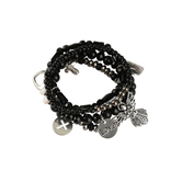 Bella Grace, Beaded Stretch Bracelets with Charms, Set of 4, Black Plastic Beads