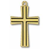 Black Engraved Large Gold Cross Pendant Necklace